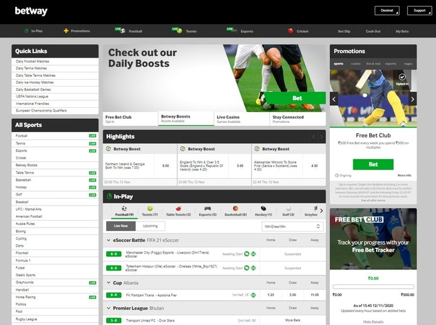 Betway India Homepage